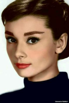 Audrey Hepburn - great coral cheek and red lip, with giant lashes!! Stunning look