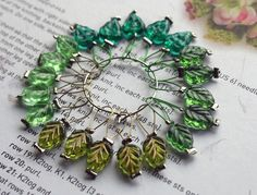 20 Knitting stitch markers Spring Leaves by CraftyCatKnittyBits on Etsy