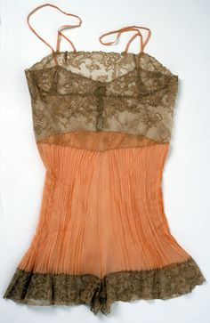 Peach and brown 1920s lingerie with crepe pleats. Oh dear, I am in love.
