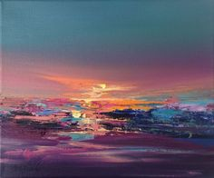 Buy Warm Lights - 25 x 30 cm abstract landscape oil painting, turquoise, purple, magenta, Oil painting by Beata Belanszky Demko on Artfinder. Discover thousands of other original paintings, prints, sculptures and photography from independent artists.
