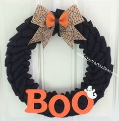 handcrafted 19 black burlap wreath with glitter burlap spider weborange double bow on - Boston Red Sox Bath Accessories