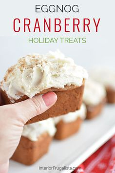 These cute mouth-watering mini cranberry eggnog loaves with eggnog nutmeg icing by Interior Frugalista are so easy to make and the perfect edible Christmas gift too! #minieggnogloaves #christmasbakingideas #festivechristmasideas Eggnog Bread Recipe, Bread Recipes, Holiday Baking, Christmas Baking, Holiday Treats, Holiday Recipes, Edible Christmas Gifts, Baking Tins