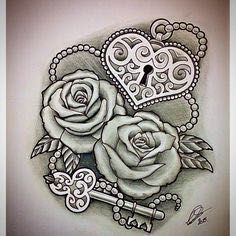 """with Heart-Shaped Lock & Key"""" by via /. """"Roses with Heart-Shaped Lock & Key"""" by via /.""""Roses with Heart-Shaped Lock & Key"""" by via /. Trendy Tattoos, Cute Tattoos, Beautiful Tattoos, Small Tattoos, Tattoos For Women, Tatoos, Bow Tattoos, Heart Tattoos, Flower Tattoos"""
