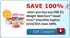 Save 100%  when you buy any ONE (1) Weight Watchers® Smart Ones® Smoothie.Expires 6/14/2015.Save 100%.