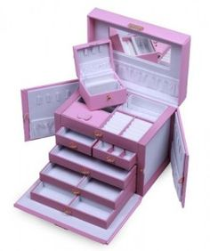 Kendal Leather Jewelry Box, Pink