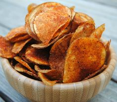Homemade BBQ potato chips with bacon salt! Crispy and delicious!