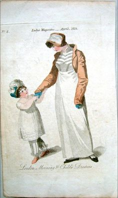A brown spencer is always a favourite, and the blue gloves. Lady's Magazine 1812