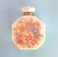 ON SALE Sweet octagonal white perfume bottle with floral design edged in metallic gold -dressing table-Spring flowers
