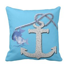 Rope and Anchor Nautical Themed Pillow Throw Cushions