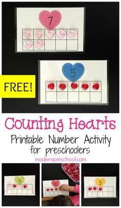 Free printable Valentine's Day counting hearts number activity for toddlers and preschoolers!