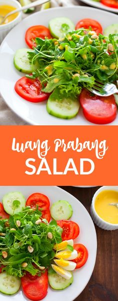 The freshest salad there ever was, this Luang Prabang salad is packed with tons of herbs and paired with a creamy sweet and sour dressing, inspired by my recent trip to Laos.#salad #laos #fresh #spring #vegetarian
