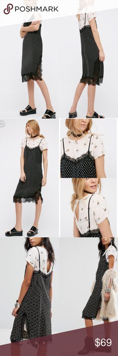 NWT Free People 2 in 1 slip dress and shirt Free people  2 piece set  Slip - v neck - Spaghetti adjustable straps - Lace trim - Pleated detail - Polka dot   Shirt mini dress - crew neck - Short sleeves - Back key hole with button closure Free People Dresses Midi