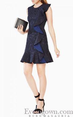 2017 BCBG Dede Sleeveless Draped Ruffled Cocktail Dress Short