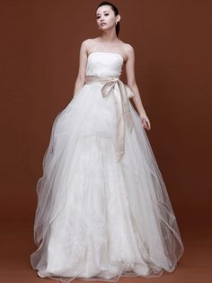 Tulle Strapless Ball Gown Style Wedding Dresses with Side Decorative Buttons and Silk-like Satin Sash Tulle and Lace Skirt with Strips of Organza Chapel Train Wedding Gowns by Luka