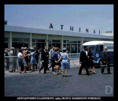 1969 ~ At Ellinikon airport in Athens Greece Pictures, Old Pictures, Old Photos, Olympic Airlines, Citroen H Van, Athens Airport, Air France, Athens Greece, Home And Away
