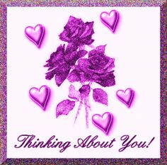 Thinking About You! friendship glitter purple hello friend thinking of you greeting. comments