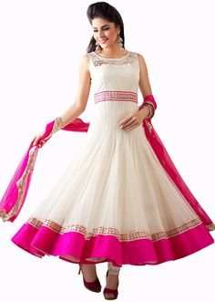 White anarkali suit in net. Yoke in chantilly lace enhanced in gotta patti lace.white santoon churidar & dupatta in pink net with sequence border Party Wear Dresses, Prom Dresses, Formal Dresses, Wedding Dresses, Indian Dresses, Indian Outfits, White Anarkali, Wedding Outfits For Women, Chantilly Lace