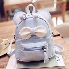 迷你双肩包女学生书包韩版PU儿童小背包可爱蝴蝶结小包多用旅行包