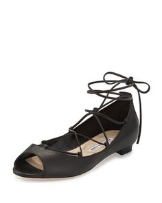 Aneska+Leather+Lace-Up+Open-Toe+Flat,+Black+by+Manolo+Blahnik+at+Neiman+Marcus.