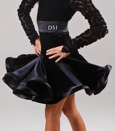 DSI Mandy Juvenile Latin Dance Skirt 1093J  only $236 Velvet w/satin band and hem.