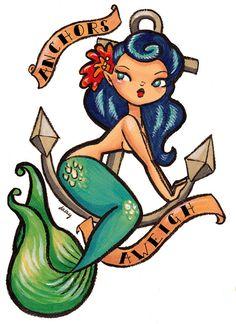 Anchors Aweigh Mermaid Temporary Tattoo Retro by daisychurch, $3.00
