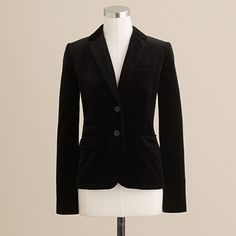 schoolboy blazer in velvet, $168 from jcrew. this is black but love the blue color too.