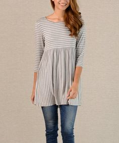 Love this Gray Stripe Scoop Neck Tunic on #zulily! #zulilyfinds