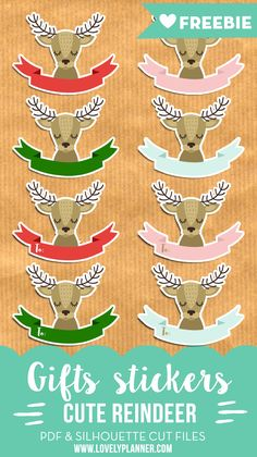 Dec. 7: free reindeer christmas gifts stickers - free printable and cut file. Use them as gift tag or planner stickers.