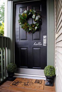 Small Space Entryway a black door? Hallway Decorating, Decorating Small Spaces, Entry Doors, Door Entryway, Front Doors, Entrance, Small Hallways, Black Doors, My Dream Home