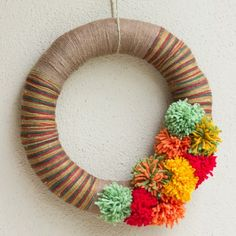 Design Improvised: DIY Night: Pom-Pom Yarn Wreath