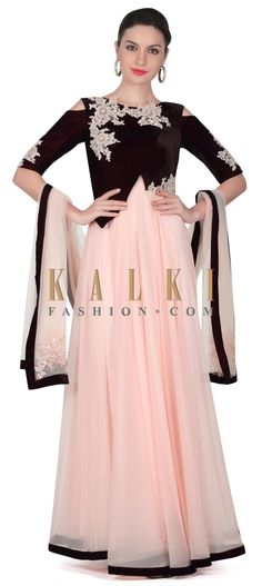 Buy this Baby pink anarkali suit in resham patch embroidery only on Kalki