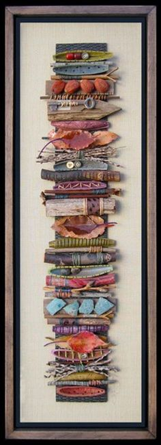 "Mixed Media Art ""Sticks"" - Bridget Hoff Witch witchy craft inspiration pagan…I don't like the frame, but the art is cool. Art Altéré, Art Du Collage, Arte Fashion, Inspiration Art, Stick Art, Art Textile, Painted Sticks, Collaborative Art, Assemblage Art"