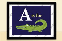 """Alligator/Crocodile Madras & Chevron Theme - """"A is for Alligator"""" Wall Art in any size - Baby Kid Nursery Room Decoration Poster Print / Matches Pottery Barn's Madras Theme"""