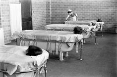the patient was placed in a tub with hot or warm water, constantly flowing, coming through the sides of the tub and down the drain. Temperature was regulated by a nurse who also attended the patients needs, tarps completely covered the top of the tub except for a small opening for the head. Pilgram State Hospital