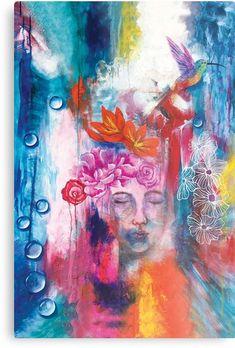 'Flower bird' Metal Print by Ria Rademeyer Flower Bird, Sell Your Art, High Gloss, Print Design, Vibrant, Metal, Artwork, Flowers, Painting