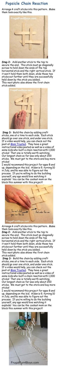Detail on how to do the Popsicle chain reaction. Go to page for more detailed instructions.
