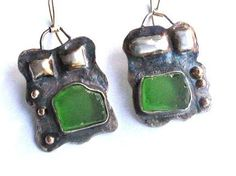 Emerald sea glass and hammered silver  earrings by riorita on Etsy, $140.00