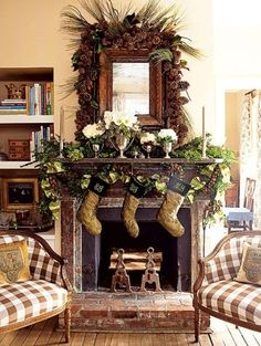 Rustic Christmas Decorating Ideas | Rustic Mantel Christmas Fireplaces Decoration Ideas | Baby Stuff