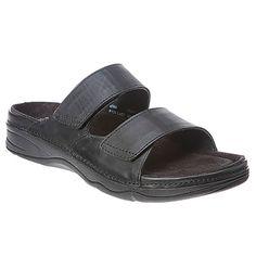 NEW Womens Drew Milan Barefoot Freedom black leather velcro slide  7/5 W #Drew #Slides