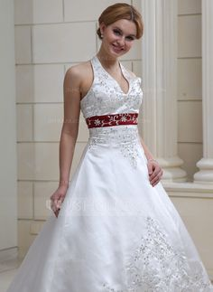Ball-Gown Halter Court Train Satin Wedding Dress With Embroidered Beading Sequins (002011730) - JJsHouse