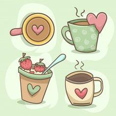 Heart mug set Free Vector Valentines Day Messages, Valentines Day Background, Valentines Greetings, Valentine Greeting Cards, Valentine's Day Letter, Cartoon Heart, Cat Doodle, Doodles, Lettering Tutorial