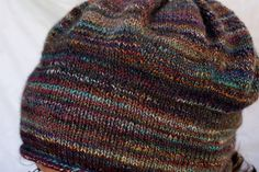 """Felicity Hat - knit with fingering weight handspun (fiber dyed by Becoming Art, colorway is """"Dream Factory"""")"""