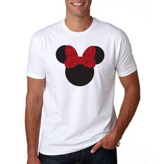 Thank you so much for stopping by our shop! We are delighted to have you here! Meet our Minnie Mouse Him & Gem Crew Neck Shirt! This shirt is so soft, its sure to be a favorite.  Details: White Shirt with Solid Black and Red Glitter (looking for another color, contact us!) 100% combed cotton jersey  Sizing: Small: Chest 38 / Body Length 28 / Sleeve Length 8 Medium: Chest 41 / Body Length 29 / Sleeve Length 8.5 Large: Chest 44 / Body Length 30 / Sleeve Length ...