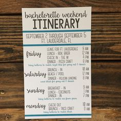 I love that this is so versatile! It can be used as a bachelorette weekend itinerary or even for a birthday weekend getaway! Don't be afraid to ask for something slightly different! Bachelorette Itinerary, Bachelorette Party Planning, Vegas Bachelorette, Bachelorette Invitations, Unique Bachelorette Party Ideas, Bachelorette Party Activities, Bachelorette Lingerie Party, Bachlorette Party, Thing 1