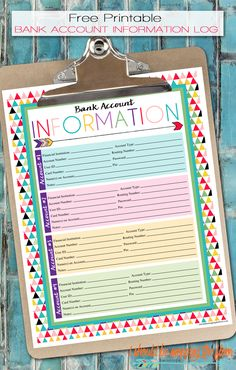Free Printable Bank Account Information Log   A series of over 30 free organizational printables from ishouldbemoppingthefloor.com   Three Designs & Instant Downloads