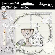 First Communion Page Kit [DL-MB-K-FirstCommunionSacram] - $3.99 : Digital Scrapbook Place, Inc. , High Quality Digital Scrapbook Graphics
