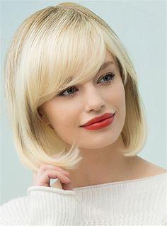 Mishair® Sweet Shaggy Bob Medium Straight Human Hair Blend Hair Capless  Wigs 12 Inches