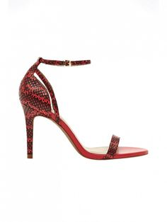 Red + snakeskin make a winning provocative combination // Reiss Malva Single Strap Sandals ($181)