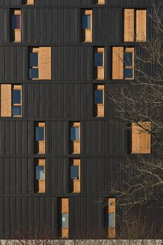 Image 30 of 38 from gallery of Le Vialenc Residential Block / Atelier du Rouget Simon Teyssou & associés. Photograph by Benoit Alazard Atelier Architecture, Concrete Architecture, Space Architecture, Brick And Wood, Concrete Wood, External Cladding, Metal Facade, Wood Structure, Wood Steel
