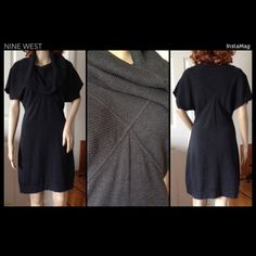Nine West Cowl Neck Sweater Dress Black ribbed cowl neck sweater dress by Nine West. Size small. Features batwing sleeves, x stitching across front and back. Very figure flattering and warm. Perfect alone or with leggings and heels. ✔️Smoke & pet free Nine West Dresses